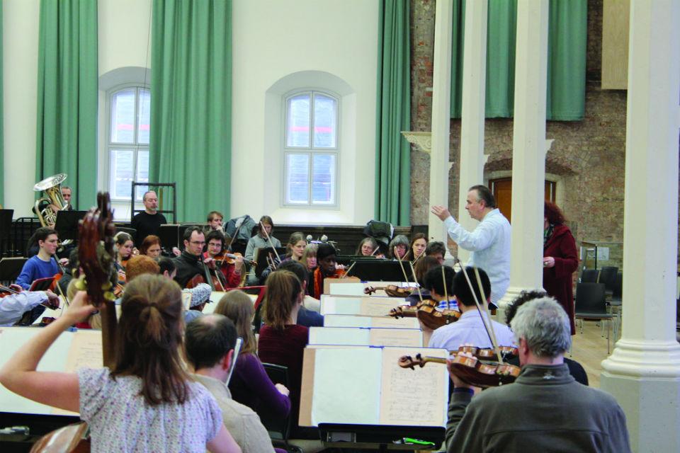 Mark Elder conducting in St Peter's