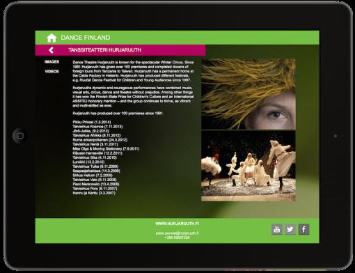Screenshot from the Dance Finland app