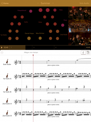 Screenshot from the Vivaldi Four Seasons app