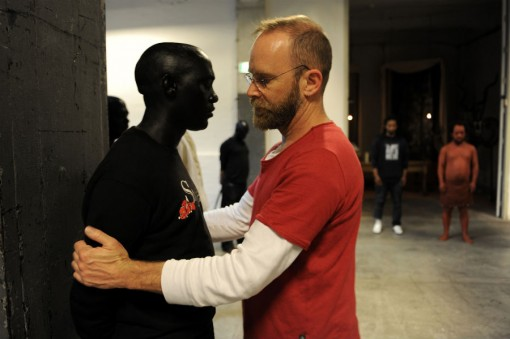 Brett Bailey with a performer from EXHIBIT B - photo by PSofie Knijff