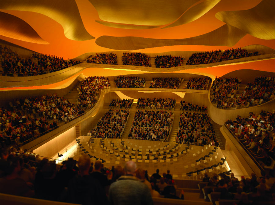 Interior of the Great Hall Philharmonie de Paris © Arte Factory