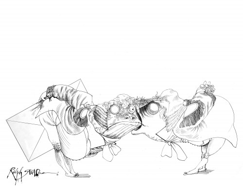 Ralph Steadman's take on the Queen of Hearts' fishy footmen