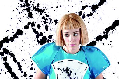 Alice (Rachele Gilmore) wears her '2D' costume, designed by Netia Jones
