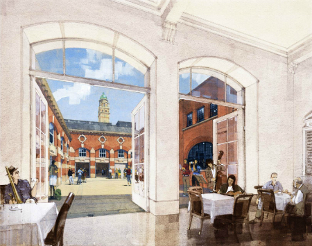 Artist's impression of new Quad viewed from the cafe in the foyer