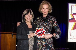 Jude Kelly (left) presenting an award to Julia Peyton-Jones (right) Photo © Pete Woodhead.