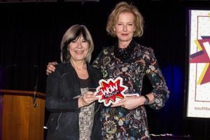 Jude Kelly (left) presenting an award to Julia Peyton-Jones (right) Photo © Pete Woodhead.