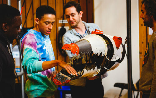 John Leader (Ensemble) and Toby Olié (Puppetry Designer and Director) in rehearsal for Peter Pan (c) Steve Tanner