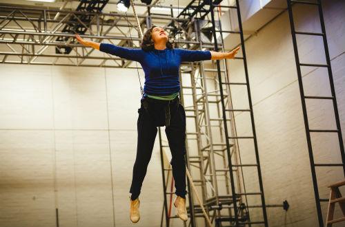 Madeleine Worrall (Wendy) rehearsing for Peter Pan (c) Steve Tanner