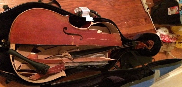 smashed cello