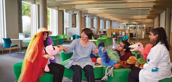 Dr Persephone Sextou (second from the left) with performers and puppets from 'Bird Island'
