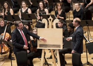 Alun Jonesand His Royal Highness, Prince Edward, Earl of Wessex, Patron of Chetham's School of Music,at the Royal Opening Celebration Concert at TheStollerHall. Photo © Sara Porter