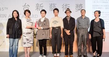 Board member Lin Mun-Lee with the TAA Visual Arts Award winners for BLACK WAVE