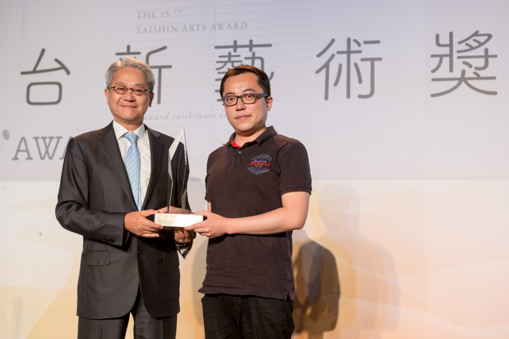 Founder of Taishin Arts Award Thomas T L Wu and Annual Grand Prize winner Chia-Wei Hsu