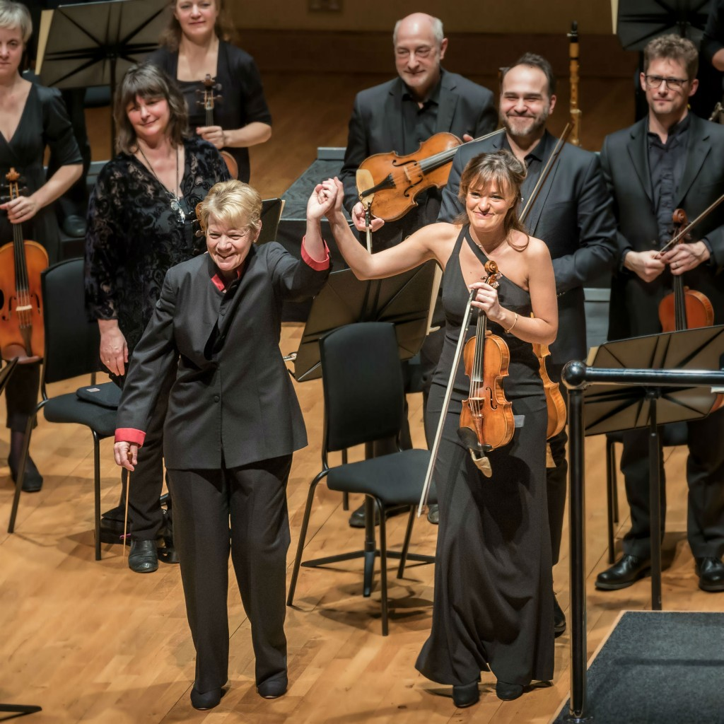 Marin Alsop and Nicola Benedetti take a bow at Saffron Hall