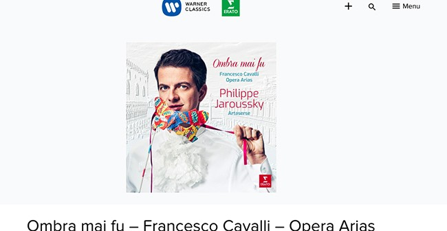A screenshot of the Warner Classics website
