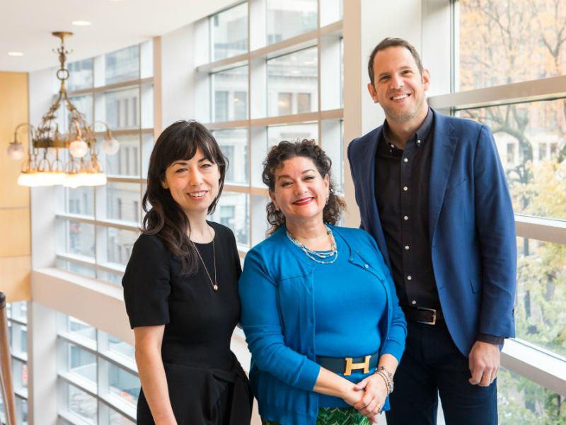 Keiko Devaux with Sharon Azrieli and fellow AMP winner Yotam Haber